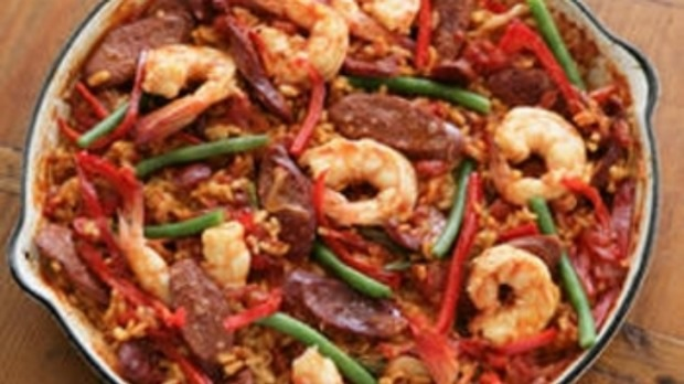 Paella with Prawns and Chorizo
